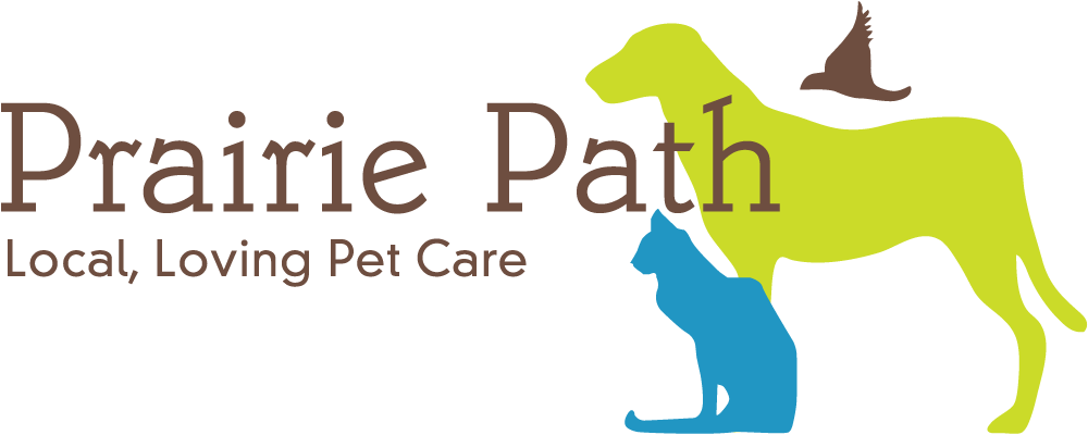 Illustration of a dog, cat and bird - Prairie Path Pet Care logo