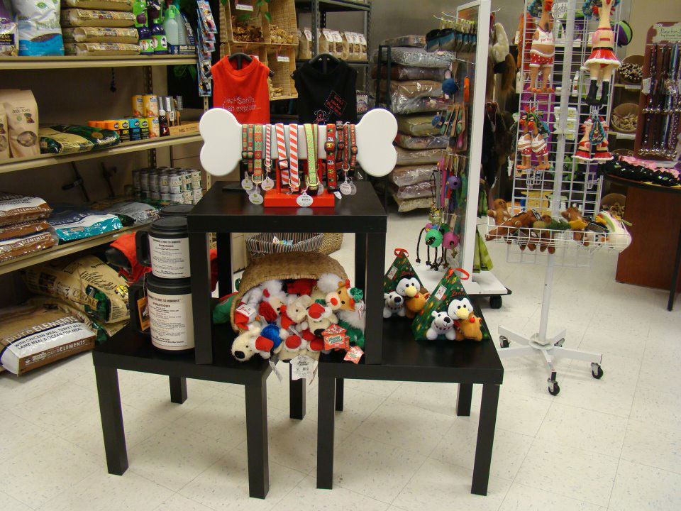 Photo of dog products on display at The Barking Lot